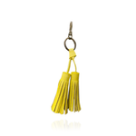 Keyring Tassel in Yellow Textured Leather