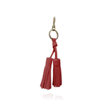 Keyring Tassel in Red Textured Leather
