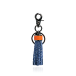 Keyring Tassel in Blue with Orange Stingray Leather
