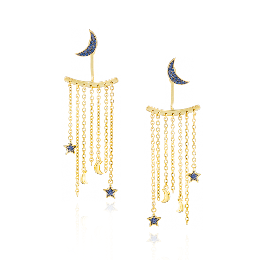 Load image into Gallery viewer, 925 Silver Moon & Star Earrings with Blue Sapphires