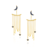 925 Silver Moon & Star Earrings with Blue Sapphires