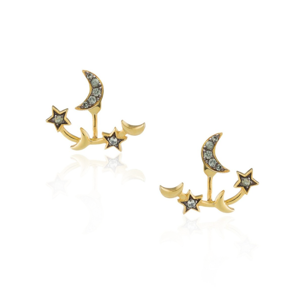 925 Silver Moon and Double Star Earrings with Green Sapphires