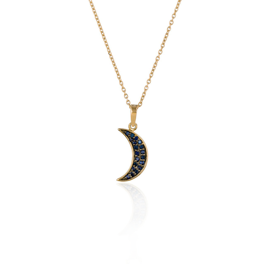925 Silver Small Moon Necklace with Blue Sapphires