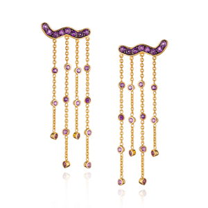 925 Silver Tassel Earrings with Amethysts