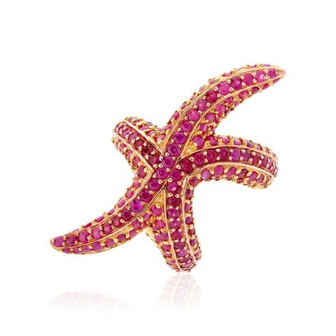 925 Silver Starfish Ring with Ruby