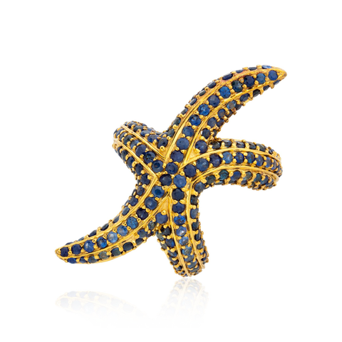 925 Silver Starfish Ring with Blue Sapphires