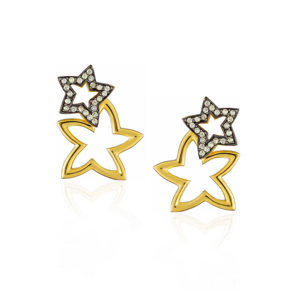 Load image into Gallery viewer, 925 Silver Double Starfish Earrings with Green Sapphires