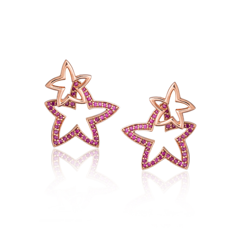 925 Silver Double Starfish Earrings with Ruby