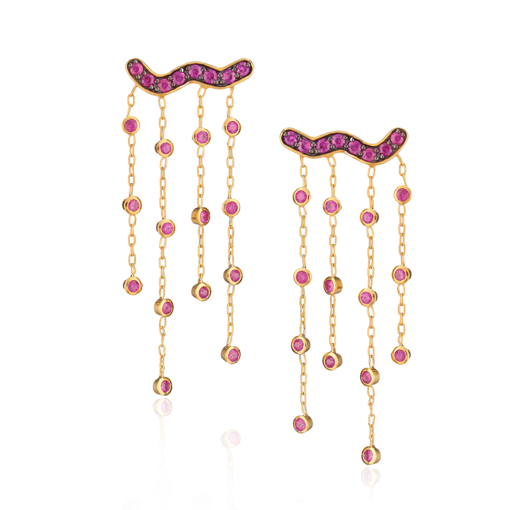 925 Silver Tassel Earrings with Ruby