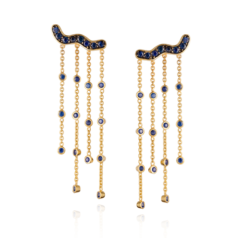 925 Silver Tassel Earrings with Blue Sapphires