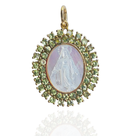 18K Gold Oval Medal of Our Lady Grace