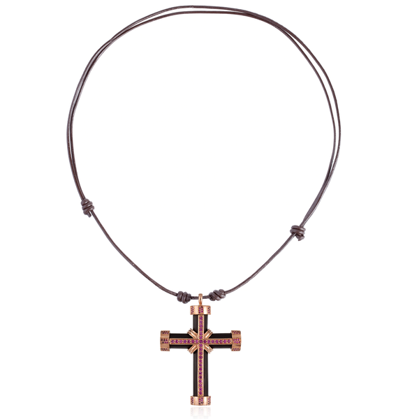 925 Silver Cross with Onyx & Ruby