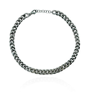 925 Silver Chain Necklace with Diamonds