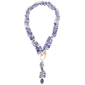 925 Silver Necklace with Faceted Iolite Drops
