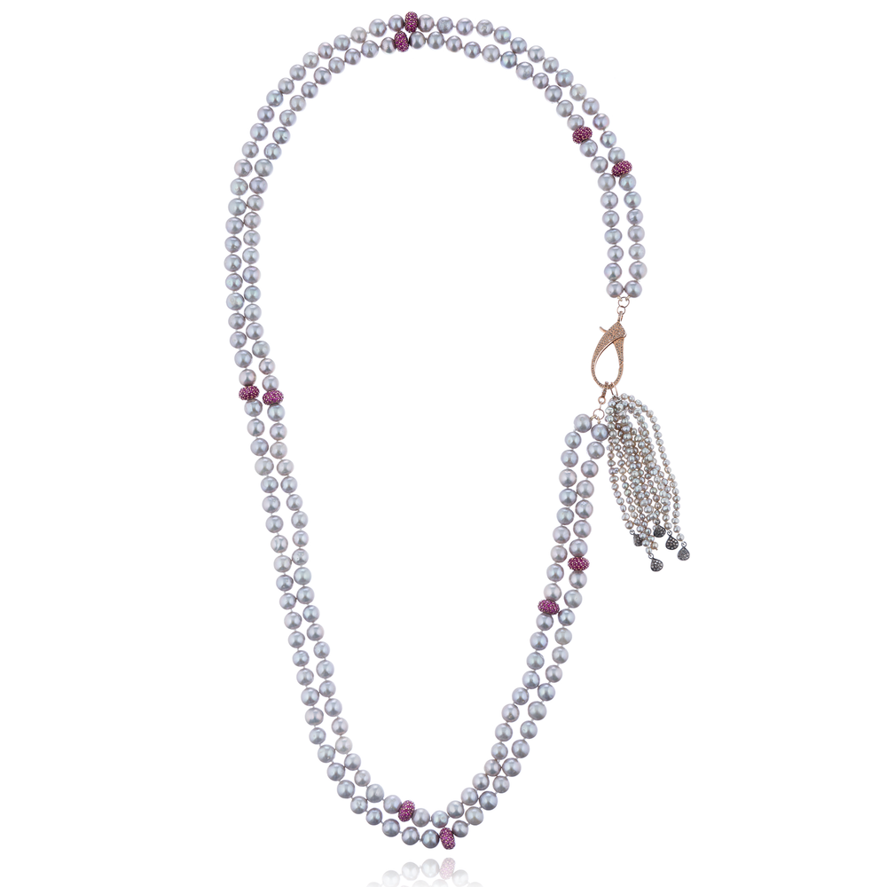 925 Silver Long Necklace with Freshwater Pearls