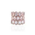 925 Silver O Ring Plated in Rose Gold with White Topaz