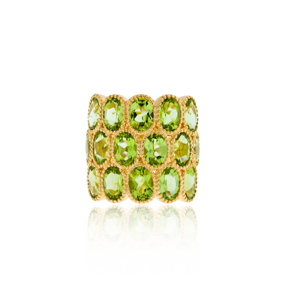 925 Silver O Rings with Oval Cut Peridots