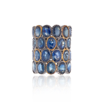 925 Silver O Ring with Oval Cut Blue Sapphires