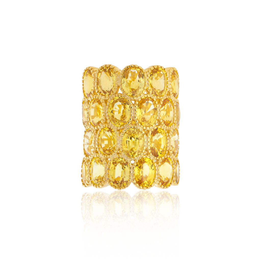925 Silver O Ring with Oval Cut Yellow Sapphires