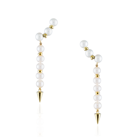 Silver Gold Plated Earrings with Fresh Water Pearls
