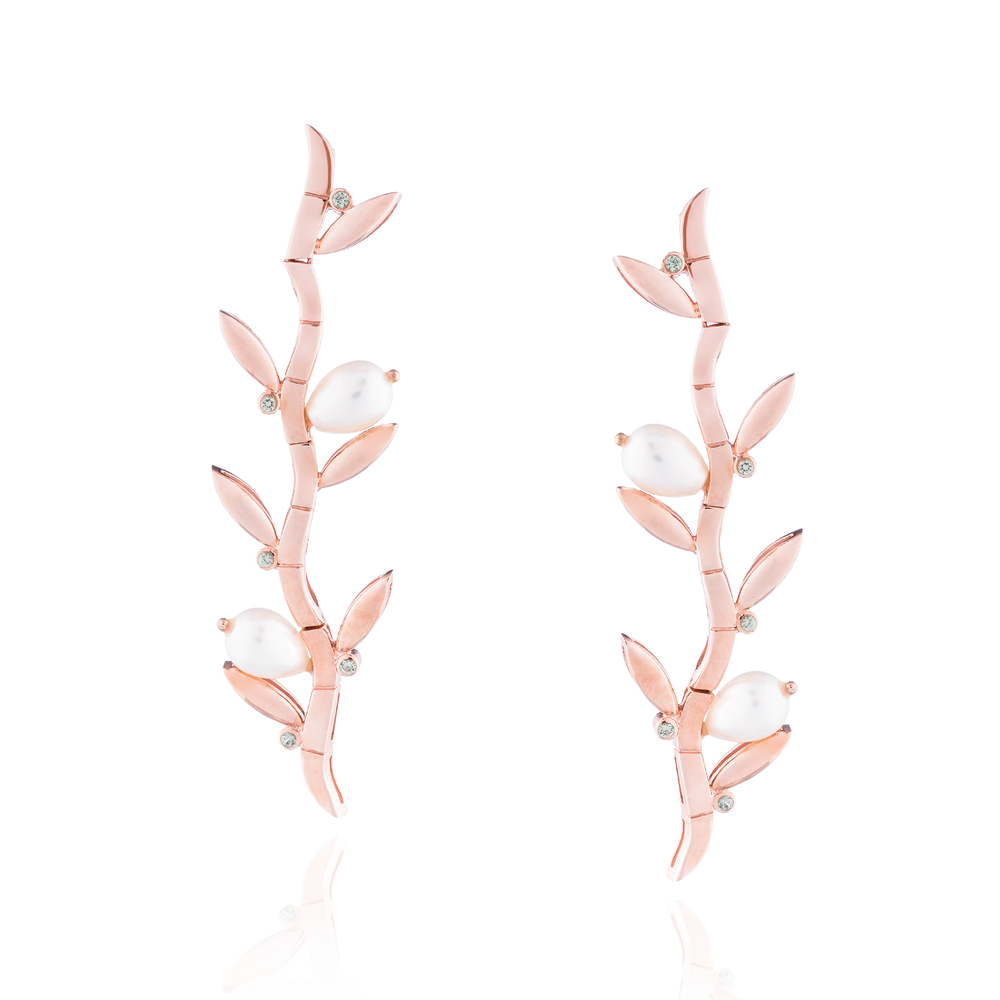 925 Silver Bamboo Earrings Plated in Rose Gold with Pearls & Sapphires