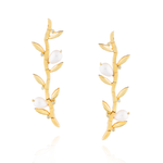 925 Silver Bamboo Earrings Plated in Yellow Gold with Pearls & Sapphires