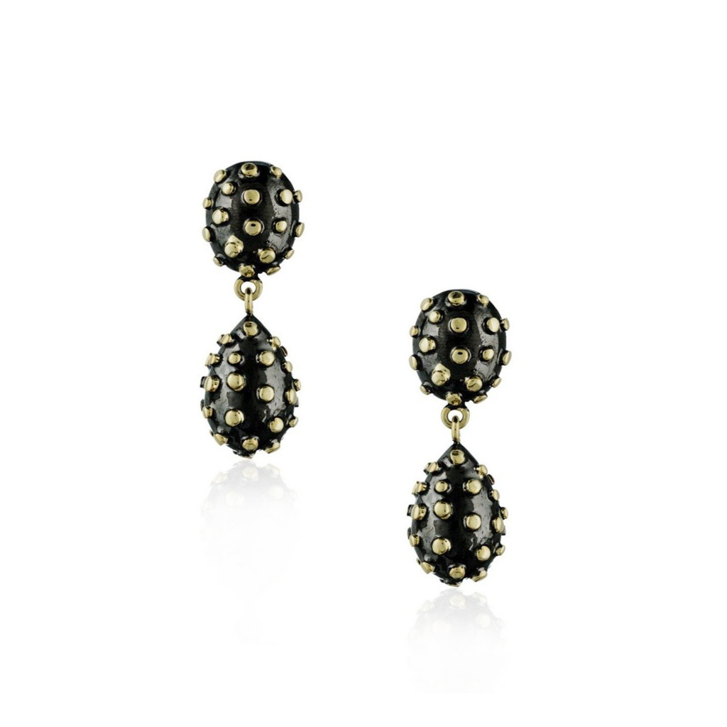 925 Silver Earrings Plated in Yellow Gold &  Black Rhodium