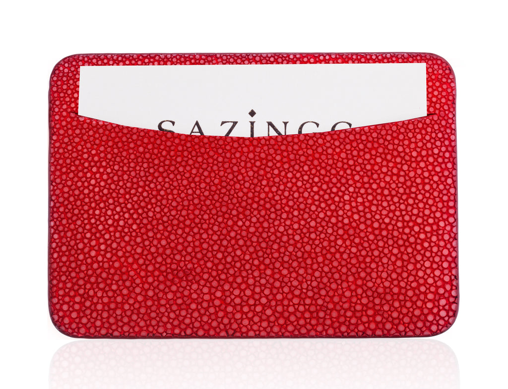 Bright Red Stingray Leather Credit Card Holder