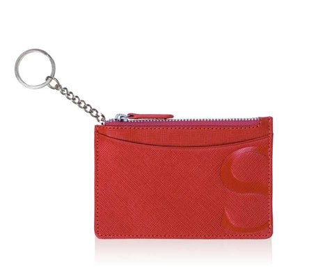 Credit Card Pouch with Keyring in Red Textured Leather