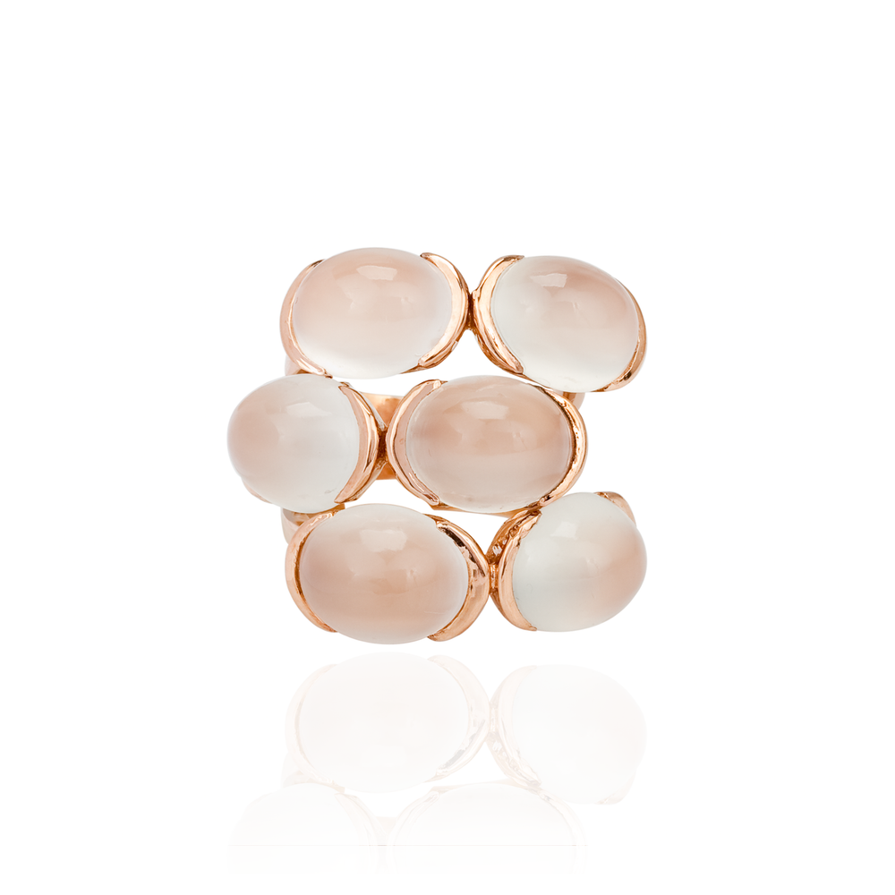 18K Rose Gold Ring with Moonstones