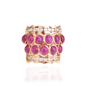Load image into Gallery viewer, 18K Rose Gold Ring with Ruby Cabochon