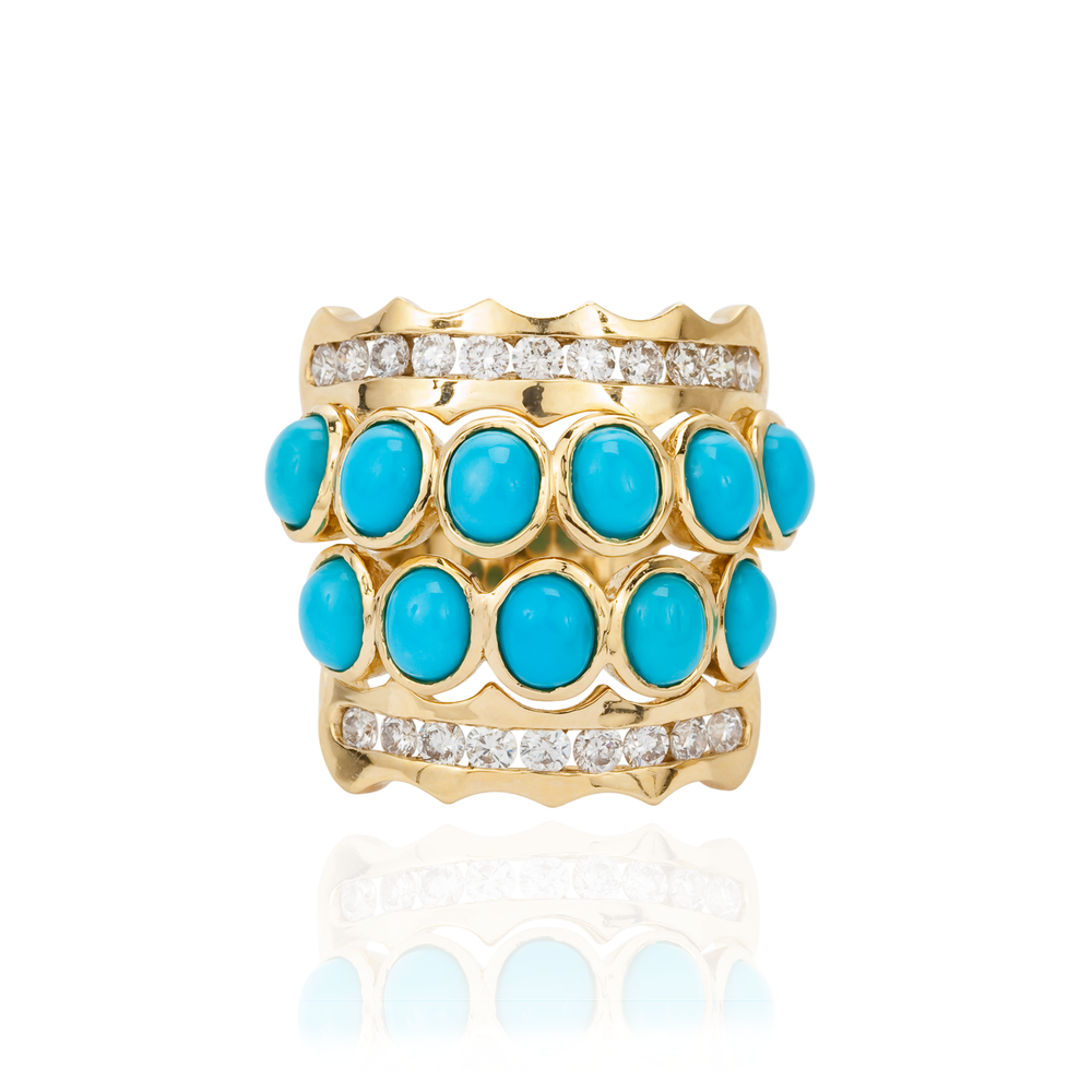 18K Yellow Gold Ring with Turquoise Cabochon