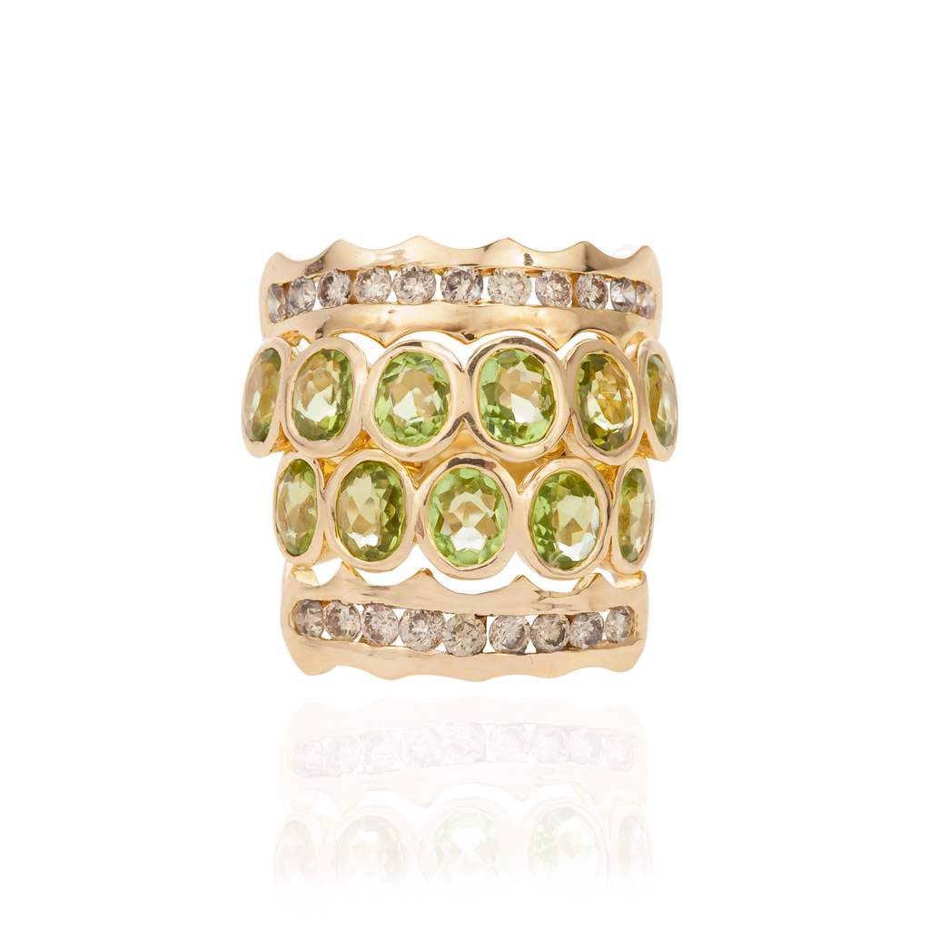 18K Yellow Gold Ring with Citrines