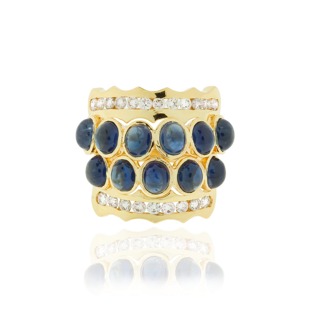 18K Yellow Gold Ring with Blue Sapphire Cabochon