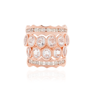 Load image into Gallery viewer, 18K Rose Gold Ring with White Topaz
