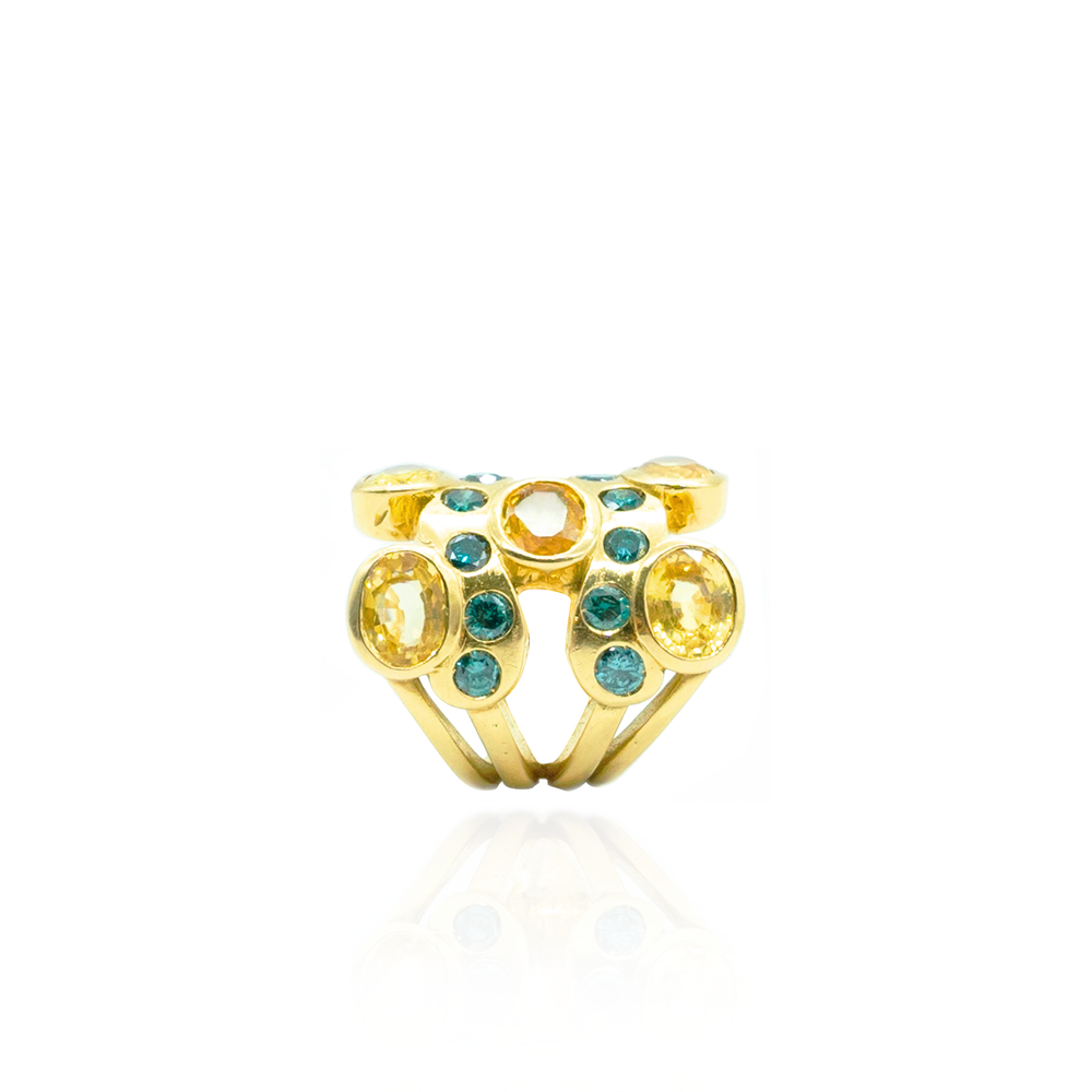 18K Yellow Gold Ring with Yellow Sapphires & Green Diamonds