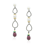 Silver Earrings with Diamonds, Pearls, Ruby & Turquoise