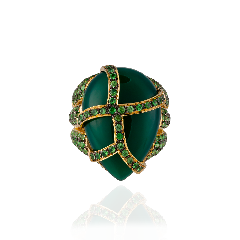 Load image into Gallery viewer, 18K Yellow Gold Ring with Green Onyx Cabochon