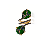 18K Yellow Gold Ring with Green Onyx Cabochon