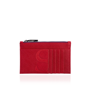 Credit Card Zip Pouch in Red Textured Leather