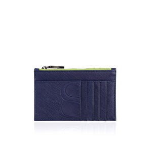 Credit Card Zip Pouch in Blue Textured Leather