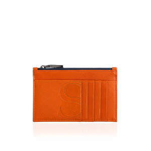 Credit Card Zip Pouch in Orange Textured Leather