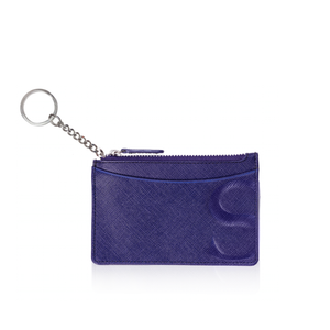 Credit Card Pouch with Keyring in Blue Textured Leather