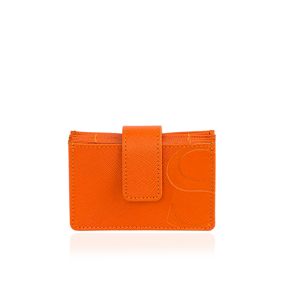 Credit Card Accordion Wallet in Orange Textured Leather