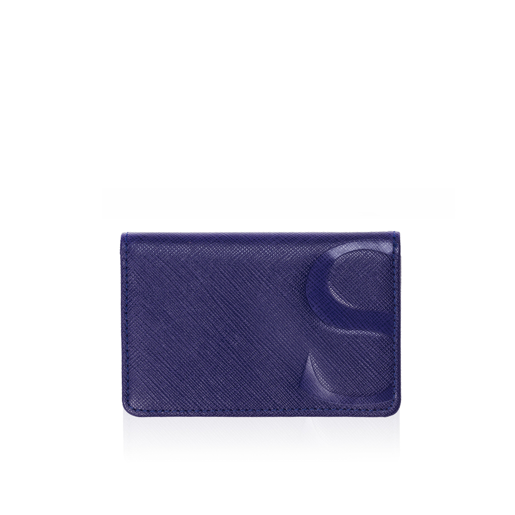Credit Card Case in Blue Textured Leather