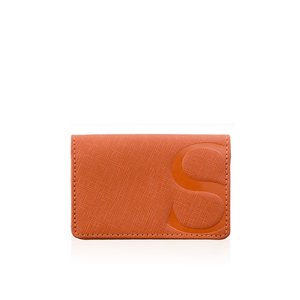 Credit Card Case in Orange Textured Leather