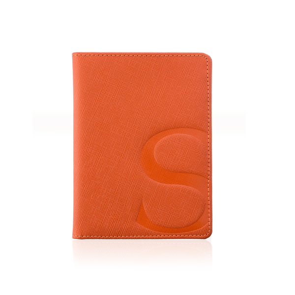 Passport Cover in Orange Textured Leather