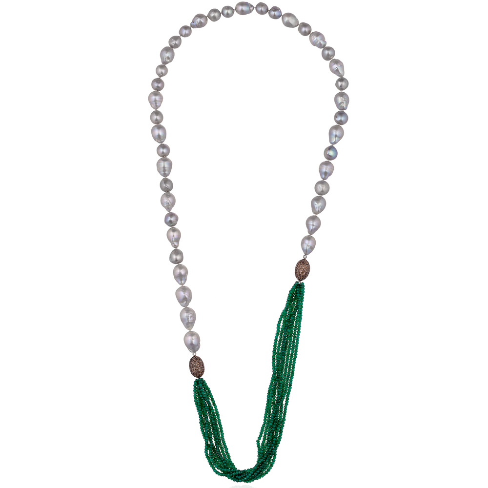 Long Freshwater Pearls Necklace with Green Onyx Strands