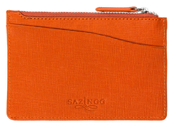 Orange Leather Keyring Credit Card Pouch