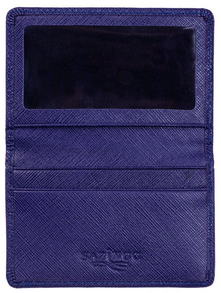 Blue Textured Leather Card & ID Holder